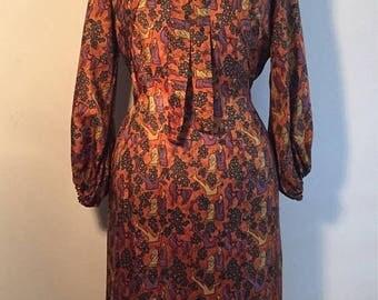 ON SALE Vintage 60s Brown Noveltyprint Wiggle Dress