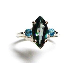 "Mystic topaz, mystic topaz ring, 3 stone ring, wedding anniversary, mystic blue, s 6 1/2 ""Biloxi Blues"""
