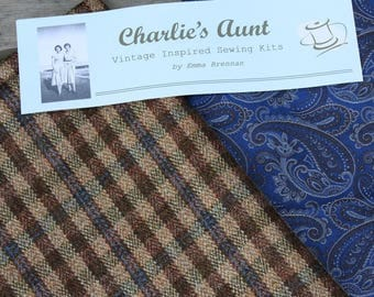 Stunning piece of British woven paisley silk and plaid wool/silk tweed fabric in shades of blue, taupe and brown