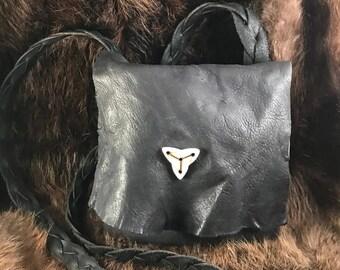 Handmade black deer skin leather bag