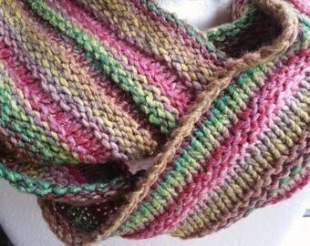 Vivid colors only silk can show. Cowl, mobius scarf, endless scarf, continuous scarf  gaitor pink green yellow tan  multicolored hand knit