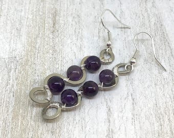 February birthstone, amethyst earrings, amethyst jewelry, amethyst dangle earrings, purple and silver earrings, birthstone jewelry