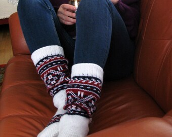 White deep blue red CUSTOM MADE Scandinavian pattern Rustic fall autumn winter Hand knit short natural sheep wool Socks Present Gift