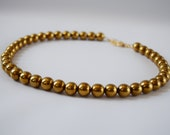 Georgian Style Golden Beaded Necklace, Gold Hematite Necklace, Golden Bead Jewelry, Regency Jewelry, 19th Century Necklace, Historic Jewelry