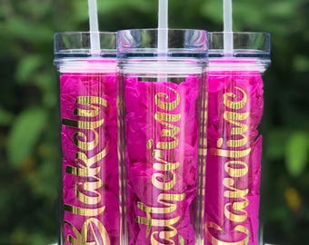 Personalized Gold Foil Skinny Tumblers - Gift, Bride Tribe, Bachelorette Party, Cheer Team