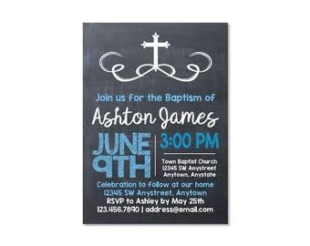 Chalkboard Baptism Invitation