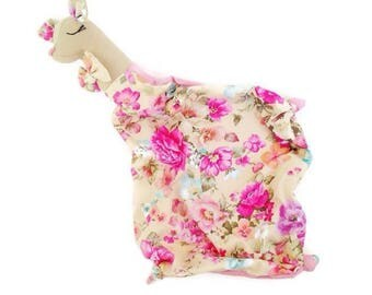 Flourish Floral Pink Fawn Lovey Baby Security Blanket