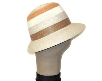 60s Summer Hat, Woven Hat, Cruise Wear Hat, Beach Hat, 1960s Striped Hat, Peach Beige Brown, Made In Italy, Ladies Sun Hat, Italian Hat