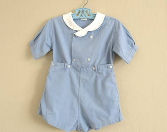 Vintage Baby Boy Romper Blue Cotton White Trim Wee Brownie Shirt Shorts Size 3 Years 855b