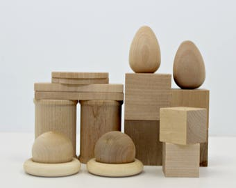 Open Ended Wood Play Set - 18 Pieces