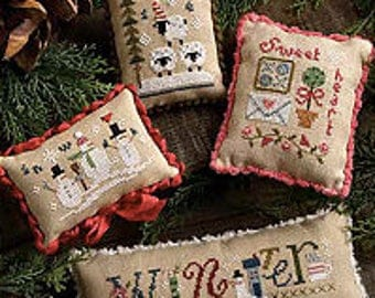 FREE gift w/pre-order LIZZIE*KATE Winter Smalls counted cross stitch patterns at thecottageneedle.com Christmas snowman Valentine's Day