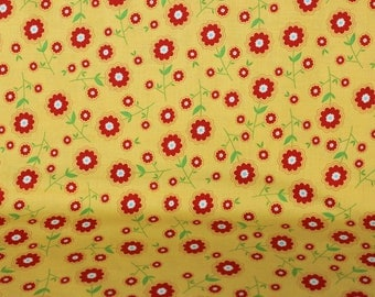 Yellow Submarine with Small Red Flower  Cotton by Riley Blake Fabrics,  Vintage Style Aprons, Headbands, quilts, Purses and Totes