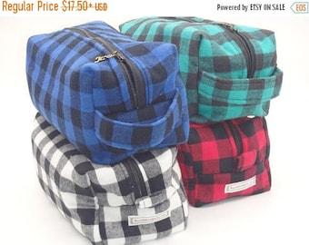 Christmasinjuly CIJ Sale Buffalo Plaid Bag, Lumberjack Pouch, Shaving Kit, Dopp Kit, Ditty Bag, Cosmetics Bag, Makeup Clutch, Zip Pouch - Ch