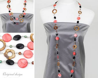Long layered Necklace Shell Necklace Long Necklace Layered Necklace Statement Necklace Multi-strand Necklace Black and Red Layered Necklace