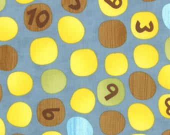 Ten Little Things Fabric by Jenn Ski for Moda Fabrics, 30503-15 Numbers on Dots in Deep Aqua