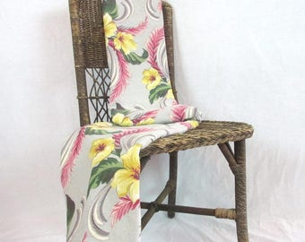 "Vintage Bark Cloth Eames Era Floral Panel 66"" x 63"" Gray Yellow Green Pink (Two Together)"