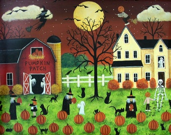 Folk Art Halloween Card - Pumpkin Picking Time with Ghosts, Witch, Black Cats