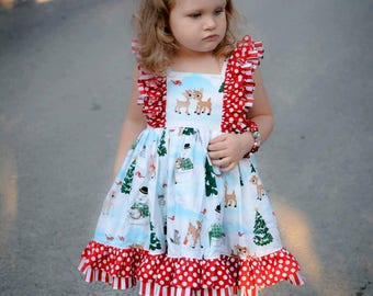 Rudolph Christmas Dress-- Limited--size 12mos to 8y