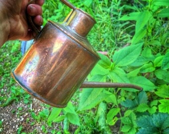 "Vintage Copper Watering Can. Brookstone Copper Watering Can  6 1/2"" tall . small watering can"