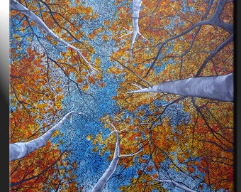 Original Large Painting Canvas Autumn Aspen Trees Sky View Signed Art GeeBeeArt