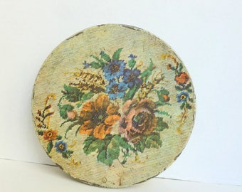Needlepoint Flowers Print Candy Tin Litho Lithograph Storage Container