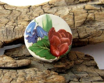 Tulip Flower Ceramic Coin Pendant