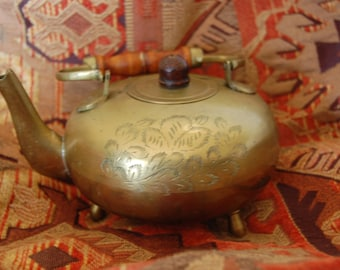 Solid Engraved Brass Teapot From India Circa 1970's Footed Brass teapot Bail Handle Wood Grip Small Teapot