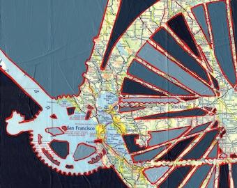 San Francisco no.3- small print -  bicycle print, bike art, Stockton, Oakland, Walnut Creek, Redwood City, Palo Alto, San Mateo   California