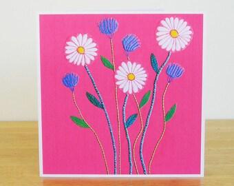 Daisy and Cornflower Greetings Card, Wild Flower Card, Recycled Card, Card for Her, Card for Mum