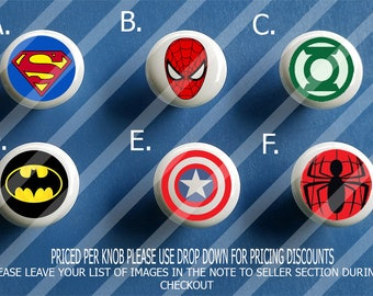 Superhero Ceramic knobs / Bedroom Dresser Knob / Nursery Drawer Knobs / Super hero Ceramic knobs / Superhero Cabinet Knobs Pull Handle