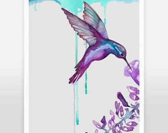 Art Print - Hummingbird, bird art, animal print, home decor, nursery art, watercolor art, hummingbird gift