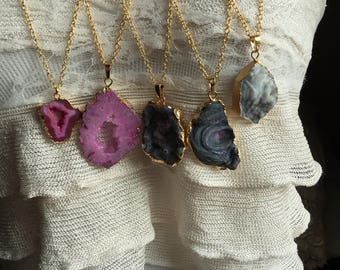 Gold druzy pendant necklace in purple, gray and pink, long druzy necklace