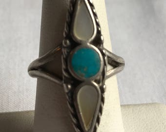 Sterling Silver Turquoise And Pearl Ring-Size 7 1/4