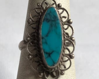 Sterling Silver Turquoise Ring-Size 5 1/2