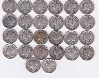 26 Mercury Silver Dime Collection 1917-1945