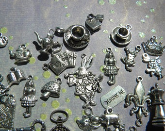 29 Alice in WONDERLAND Mixed charms Lot RABBIT Pocket Watch TEAPOT Cheshire Cat Teacup Mushroom Silver finish