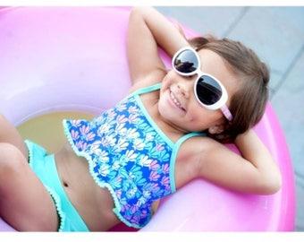 Girls Swimsuit- monogrammed swimsuit, toddler swimsuit, flamingo, mermaid, Lilly