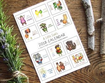 60% off SALE!! 2018 Calendar + Bonus Month - Illustrated calendar of animals + vegetables - wall calendar, desk calendar, monthly calendar