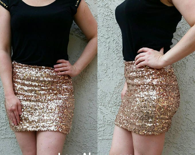 Small Only - Pink Champagne Sequin Skirt - Mini skirt, full sequins (Small Only) Super beautiful in person bright and glam