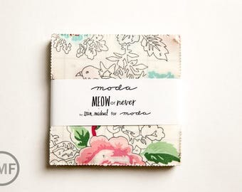 Meow or Never Charm Pack, Erin Michael, Moda Fabrics, Pre-Cut Five-Inch Fabric Squares, 26110PP