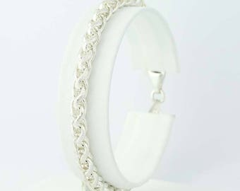 "Wheat Chain Bracelet - Brushed Sterling Silver 925 Lobster Clasp Italy 7""5.1mm Q9914"