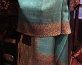 Nemesis Vintage Turquoise Brown Reversible Paisley Brocade Pashmina Scarf Wrap shawl
