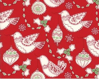 Merry Merry Christmas Garland in Ribbon Red by Kate Spain of Moda Fabric, 27273 13, Red and White Holiday