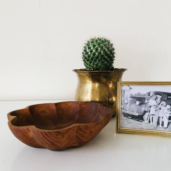 Vintage Wood Bowl Hand Carved Small Wooden Flower Shaped Trinket Bowl Mid Century Modern Boho Decor