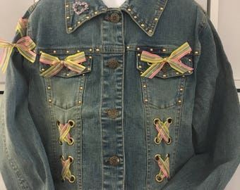 Decorated girls' Denim  Jeans Jacket 10 -