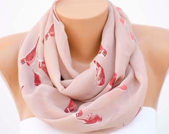 SALE- Bird patterned infinity scarf,loop scarf