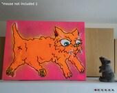 Orange Cat Art on Canvas - 40cm x 30cm - Black Light Glow - Original Art - Not Print