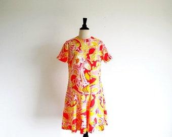 1/2 Off SALE Vintage 1960 Psychedelic Dress, Mod Summer Dress, Drop Waist Dress, 60s Party Dress, Vintage Summer Dress