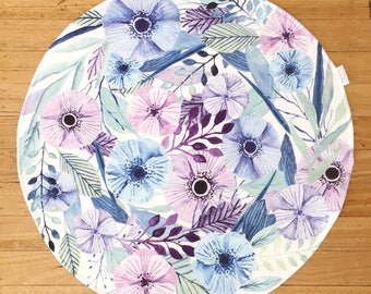 Round Baby Play Mat - Tummy time mat - Blue and Purple Watercolor flowers - Round play mat - Roundie - Floral