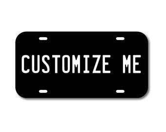 Plastic License Plate Custom Black Car Tag Custom Personalized Vehicle Business Logo Monogram